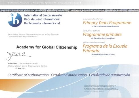 AGC IB PYP Certificate