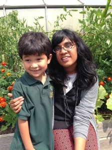 Saul and Ms. Jayaram in the garden.