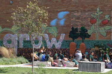 Middle schoolers at grow mural SMALL